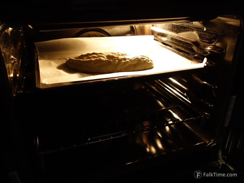 Ciabatta in oven
