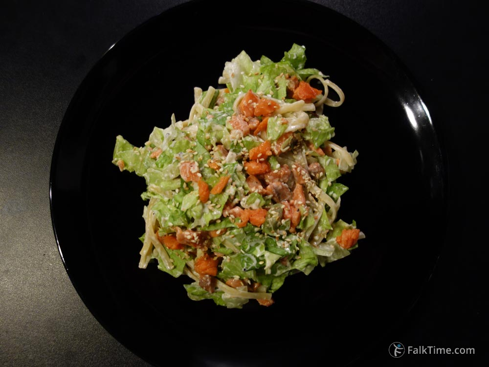 Pasta with salmon and