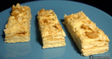 Pieces of Napoleon cake