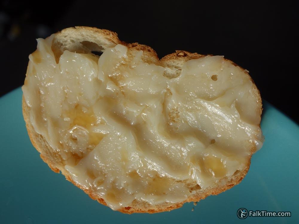 Toast with fat from buzhenina (smalets)