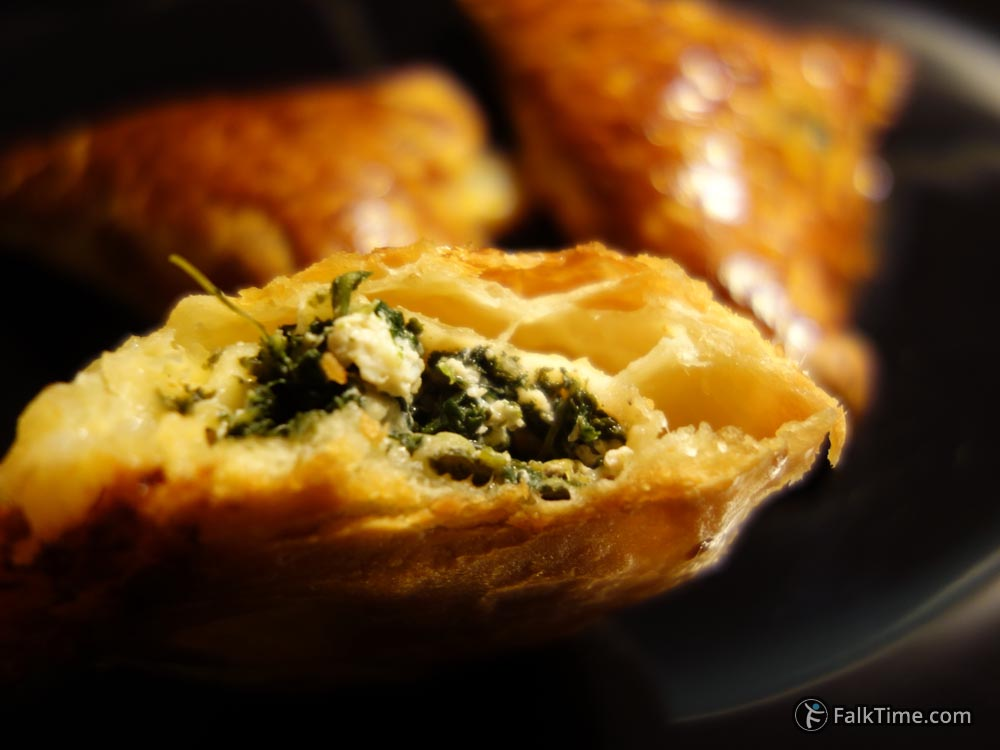 Spinach & cheese puff pastry inside