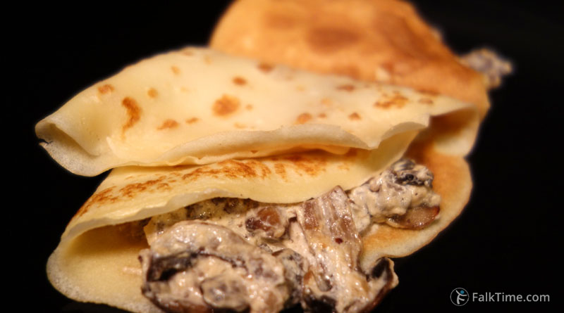 Pancakes with creamy mushrooms