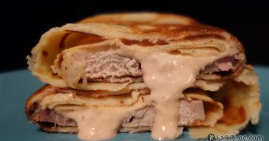 Pancakes with buzhenina & horseradish sauce