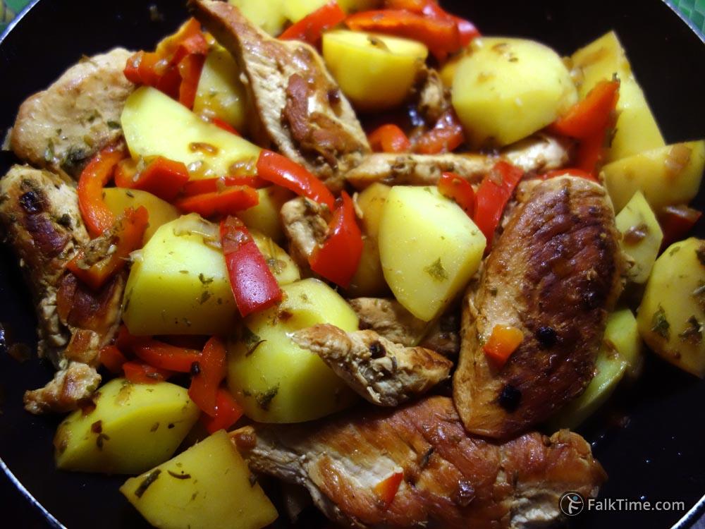 Stir chicken and vegetables