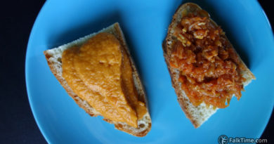 Courgette caviar on ciabatta