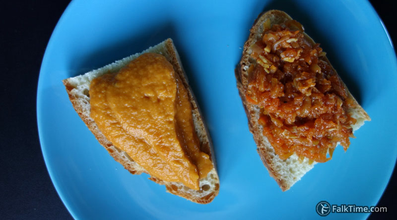 Courgette caviar on ciabatta