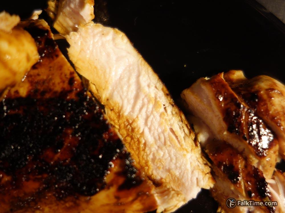 Slice of juicy chicken