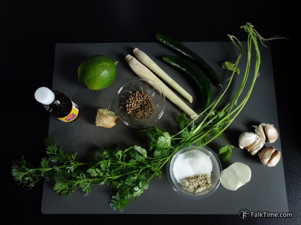 Ingredients for Thai green curry paste